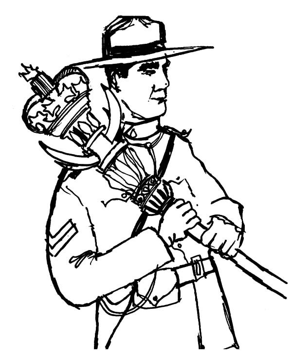 Canada Day, : A Brave National Ranger on Canada Day Coloring Pages