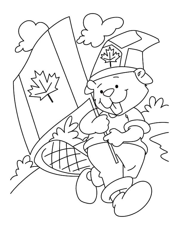 Canada Day, : A Fluffy National Beaver Boyscout on Canada Day Coloring Pages