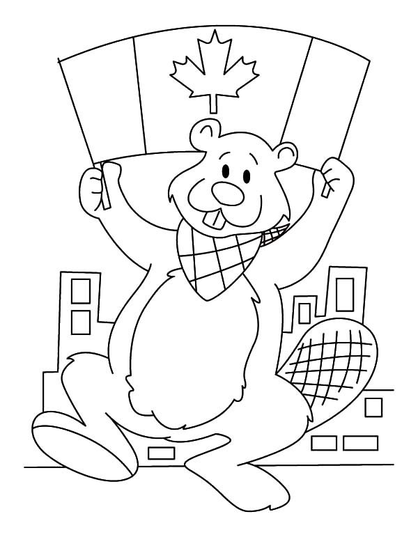 Canada Day, : A National Beaver with Canada Flag on Canada Day Coloring Pages