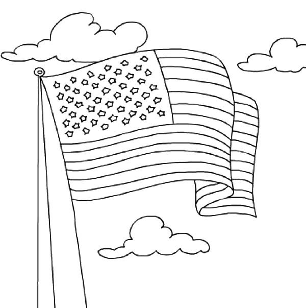 Independence Day, : American Flag Waving on 4th July Independence Day Coloring Page