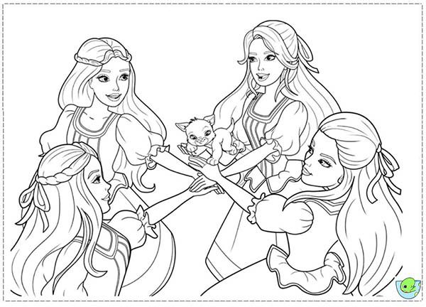 Barbie and Three Musketeers, : Barbie and Three Musketeers Coloring Pages Swear Together