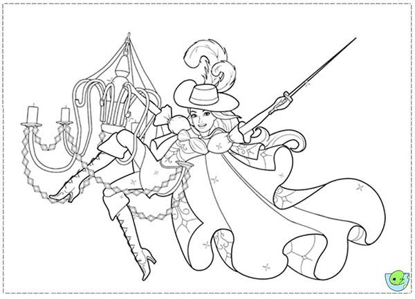 Barbie and Three Musketeers, : Barbie and Three Musketeers Coloring Pages Swing on the Lamp