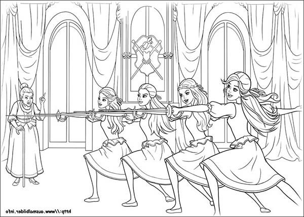 Barbie and Three Musketeers, : Barbie and the Three Musketeers Practising Coloring Pages
