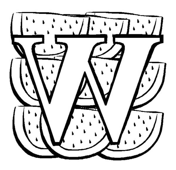 big letter w for watermelon coloring page - Watermelon Coloring Page