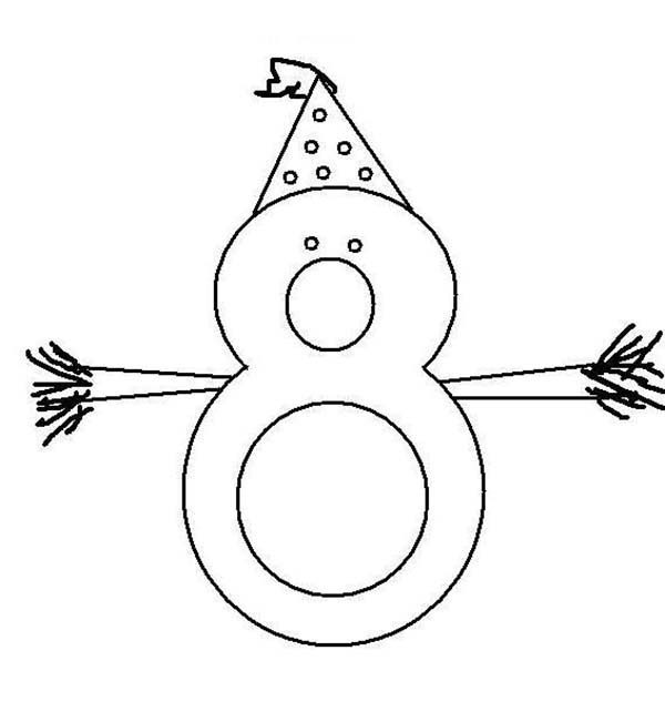 Number 8, : Birthday Number 8 Coloring Page