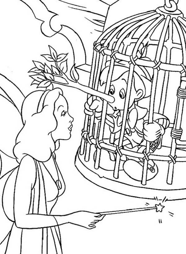 Pinocchio, : Blue Fairy is Trying to Help Pinocchio Coloring Pages