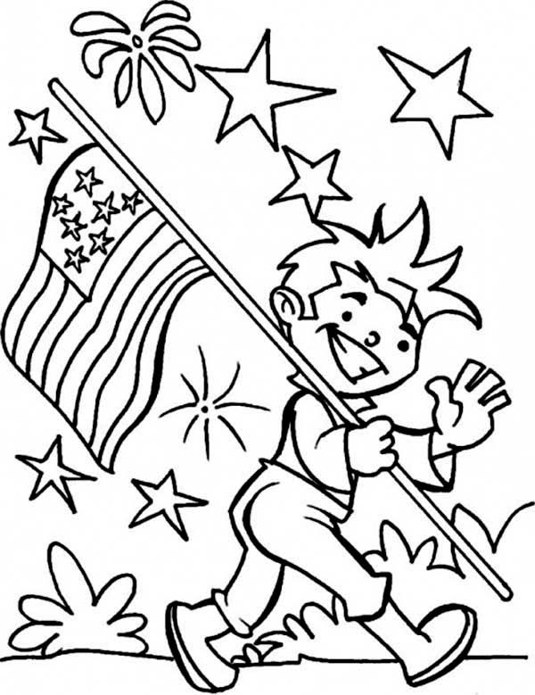 Independence Day, : Carrying American Flag on 4th July Independence Day Coloring Page
