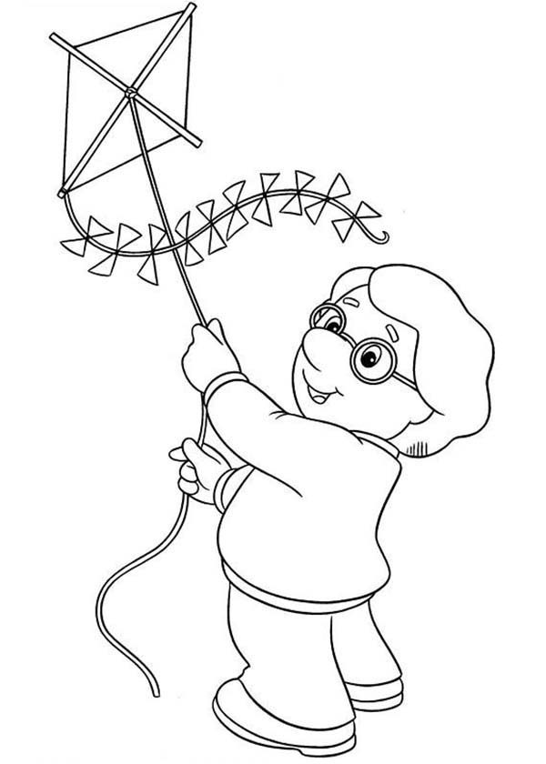 Postman Pat, : Charlie Pringle Trying to Fly a Kite in Postman Pat Coloring Pages