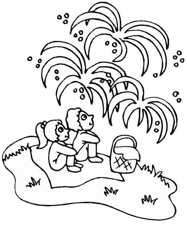 Independence Day, : Childrens Watching Fireworks on 4th July Independence Day Coloring Page