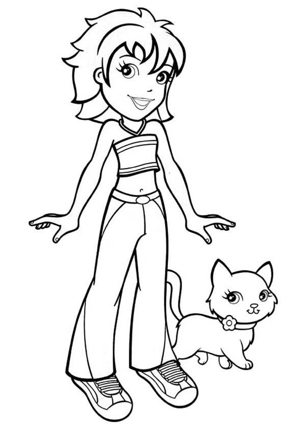 Polly Pocket, : Crissy Walk Her Little Kitten in Polly Pocket Coloring Pages