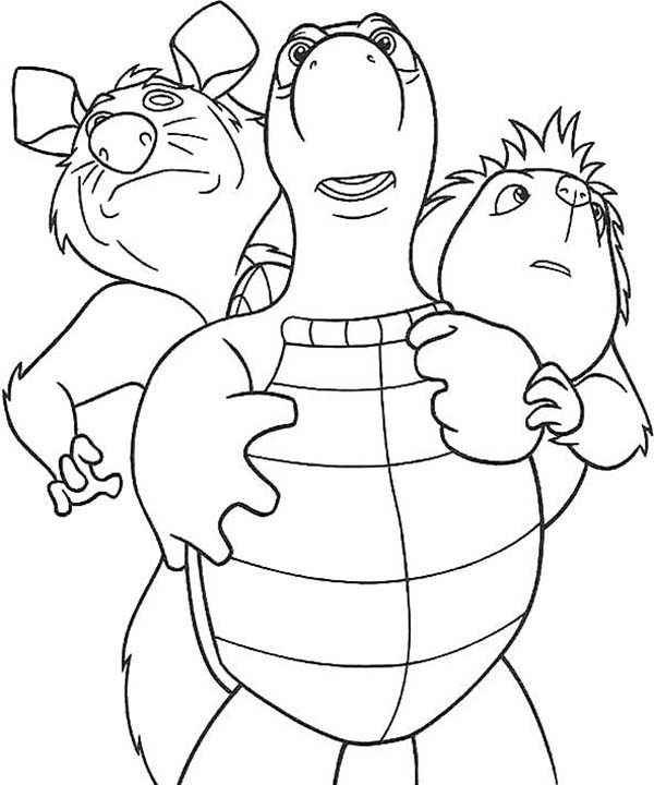 Over the Hedge, : Everyone Hides Behind Verne in Over the Hedge Coloring Pages