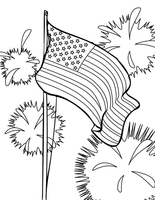 Independence Day, : Flag and Fireworks 4th July Independence Day Coloring Page 2