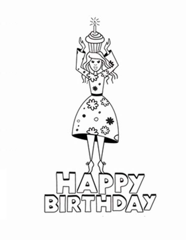 Happy Birthday In Princesses Coloring Pages