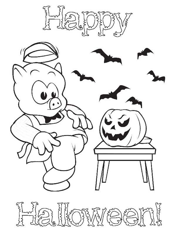 Happy Halloween Piggly Wiggly Scary Pumpkin Coloring Pages | Bulk ...