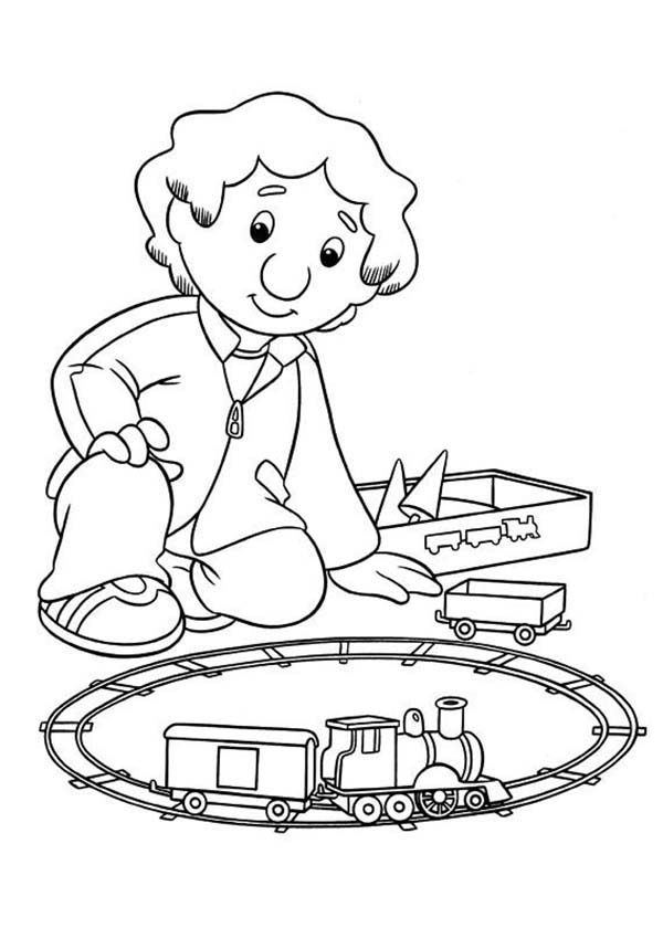 Postman Pat, : Julian from Postman Pat Playing Model Train Coloring Pages