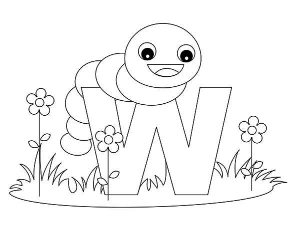 Letter W, : Kids Learn Letter W Coloring Page