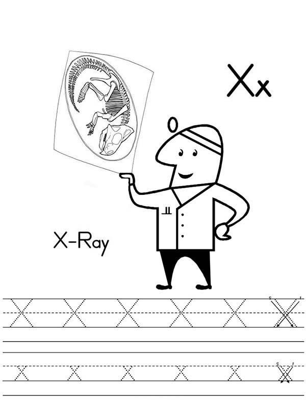 Kindergarden Kids Learn Letter X For X Ray Coloring Page