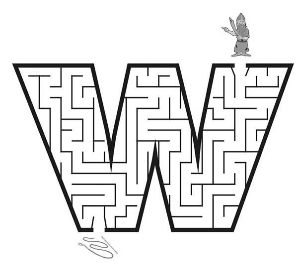 Letter W, : Learn Letter W Maze Coloring Page