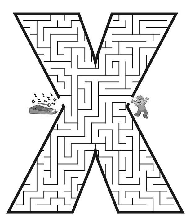 Letter X, : Learn Letter X Maze Coloring Page