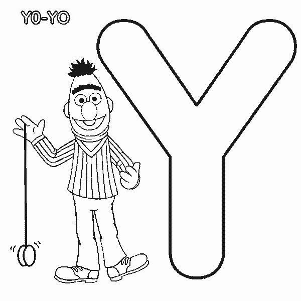 Learn Letter Y For Yo In Sesame Street Coloring Page