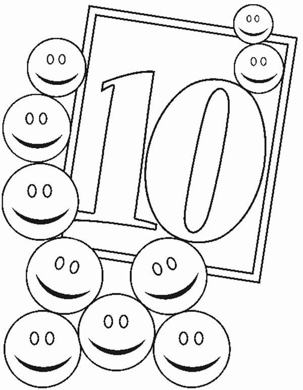 Number 10, : Learn Number 10 with Smiley Faces Coloring Page