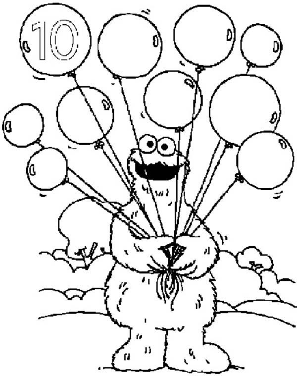 Learn Number 10 With Ten Balloons In Sesame Street Coloring Page