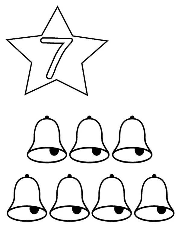 Learn Number 7 with Seven Bells Coloring Page Bulk Color
