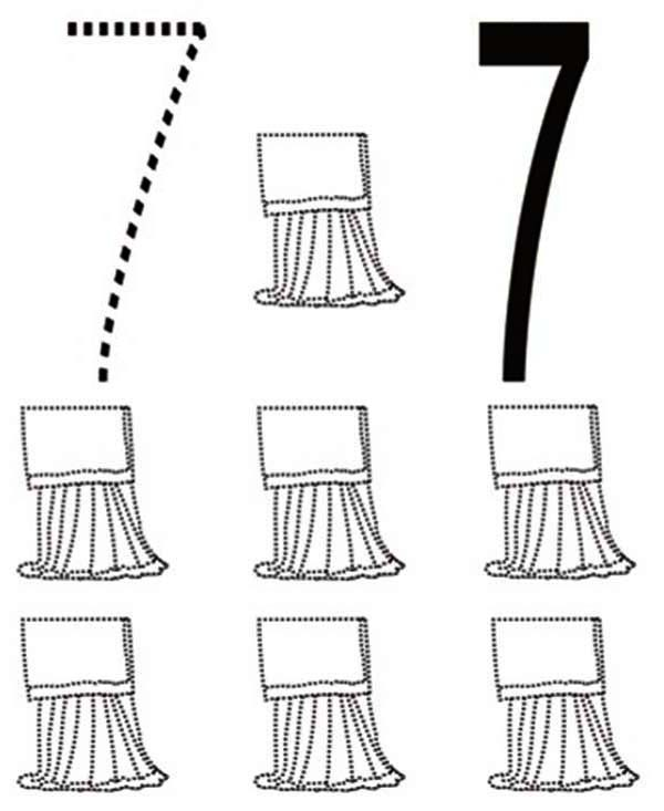 Number 7, : Learn Number 7 with Seven Curtains Coloring Page