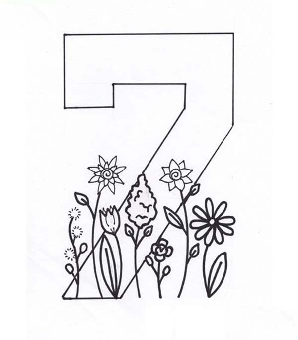Number 7, : Learn Number 7 with Seven Flowers Coloring Page