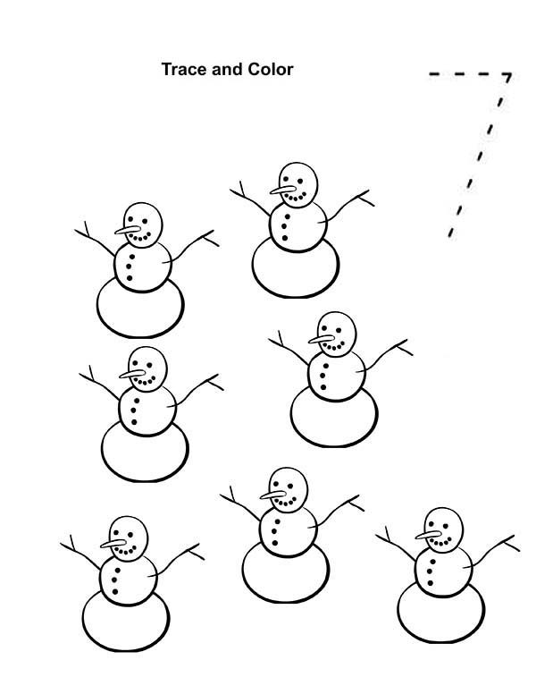 Number 7, : Learn Number 7 with Seven Snowman Coloring Page
