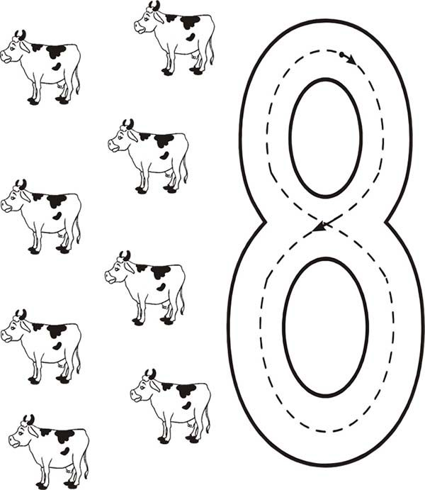 8 Coloring Pages Numbers and coloring sheets pages