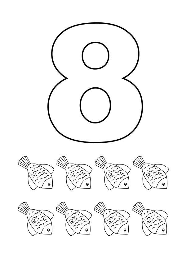 Learn Number 8 with Eight Flower Fishes Coloring Page Bulk Color