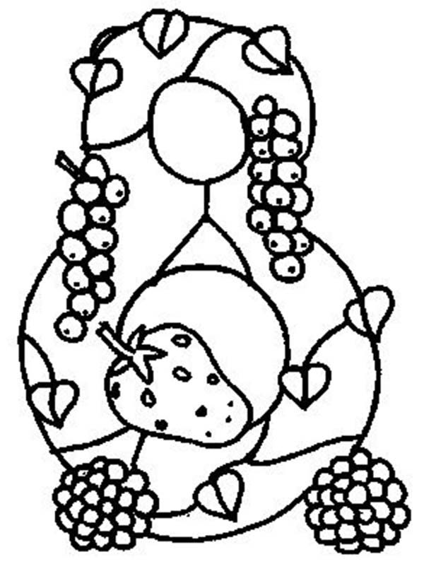 Number 8, : Learn Number 8 with Eight Fruits Coloring Page