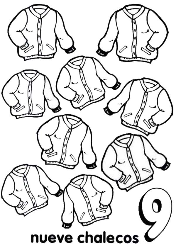 Learn Number 9 with Nine Jackets Coloring Page Bulk Color