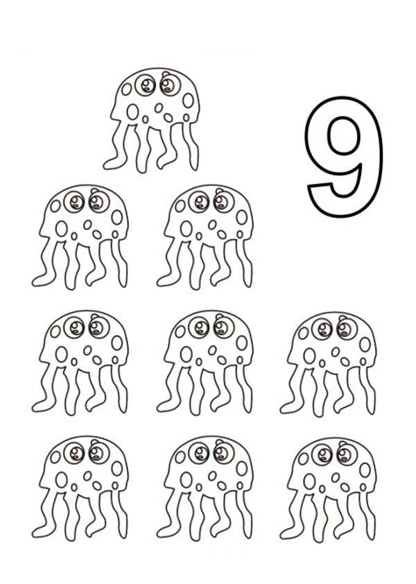 Learn Number 9 with Nine Jellyfish Coloring Page Bulk Color