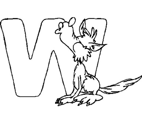 Letter W, : Letter W for Wolf Coloring Page