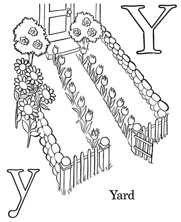 Letter Y, : Letter Y is for Yard Coloring Page