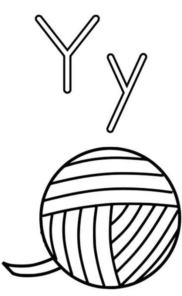 letter y is for yarn coloring page