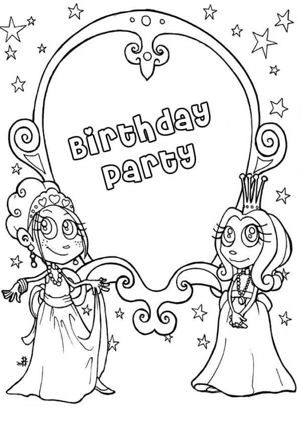 Princesses Birthday, : Magic Mirror at Birthday Party in Princesses Birthday Coloring Pages