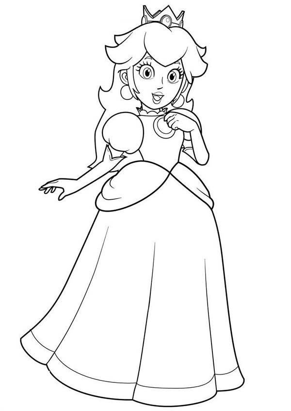 Princess Peach Birthday Coloring Pages