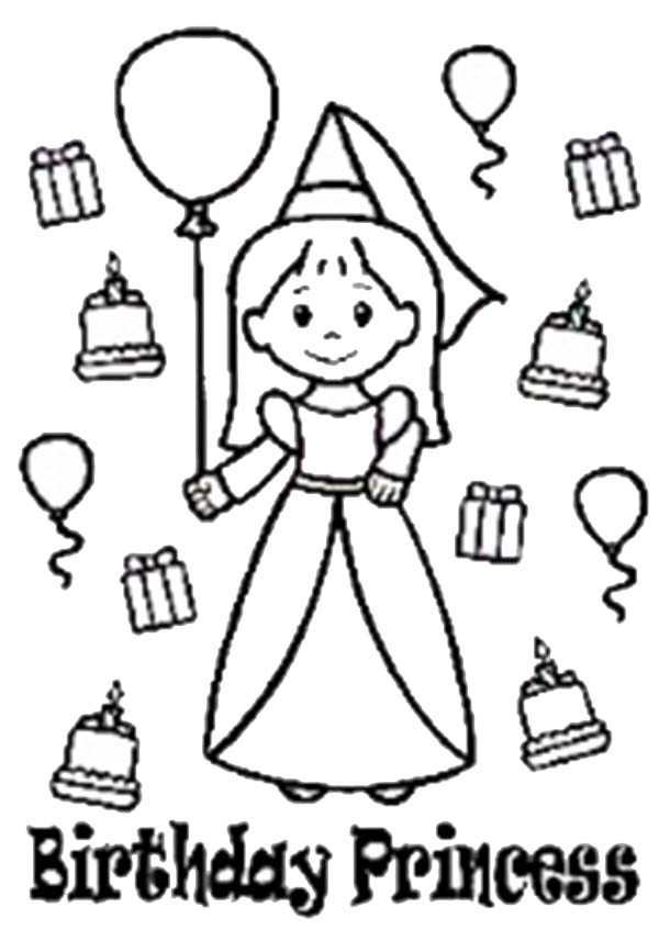 Princesses Birthday, : Picture of Chiby Princesses Birthday Coloring Pages