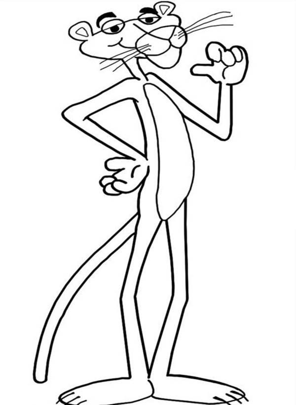 pink panther proud of himself coloring pages