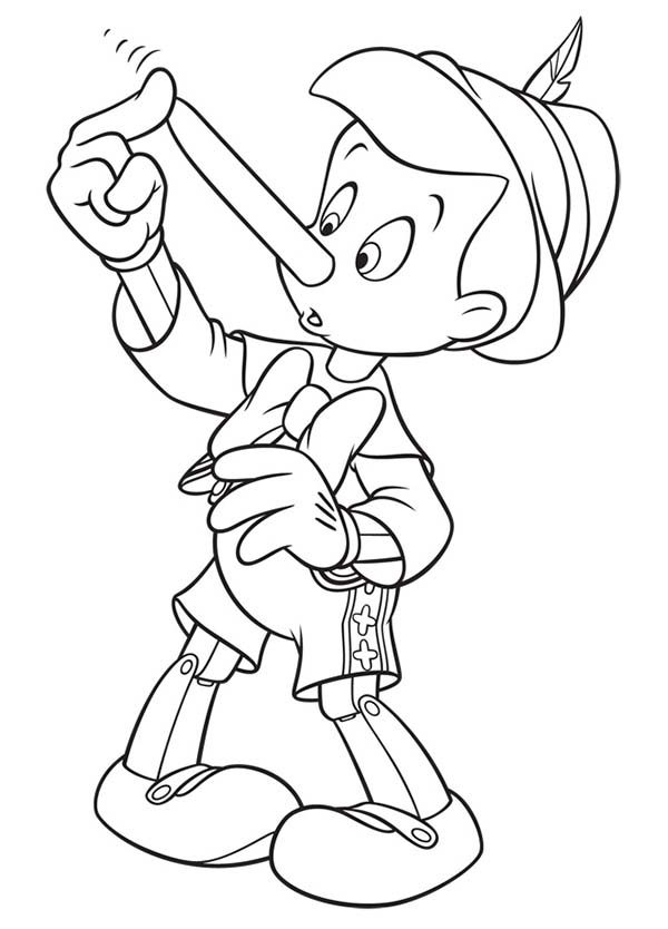 Pinocchio Touch His Nose Coloring Pages