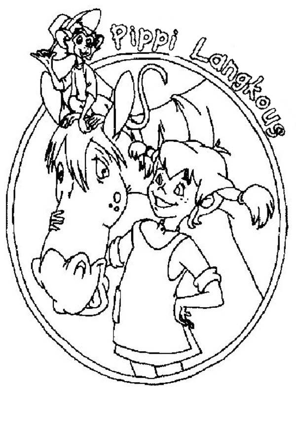 Pippi Longstocking, : Pippi Longstocking Book Cover Coloring Pages