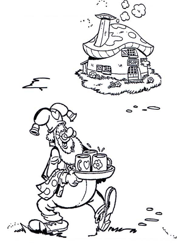 Plop the Gnome Bring Drink for His Guest Coloring Pages | Bulk Color