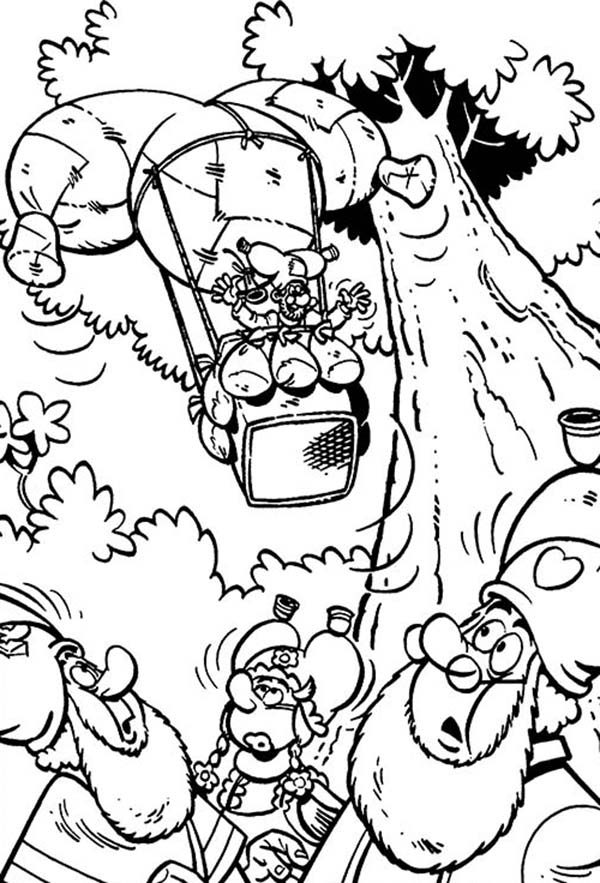 Plop the Gnome, : Plop the Gnome Ride Air Balloon Coloring Pages