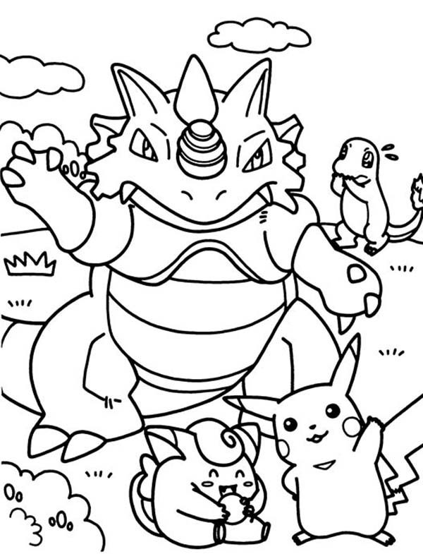 pokemon having fun together coloring pages - Fun Colouring Sheets