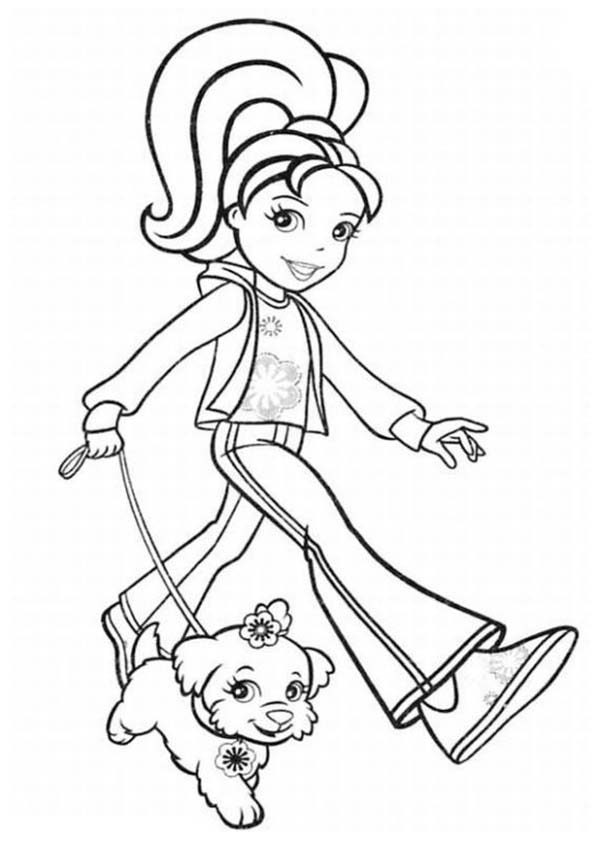 Polly Pocket, : Polly Pocket Take Her Dog Outside Coloring Pages