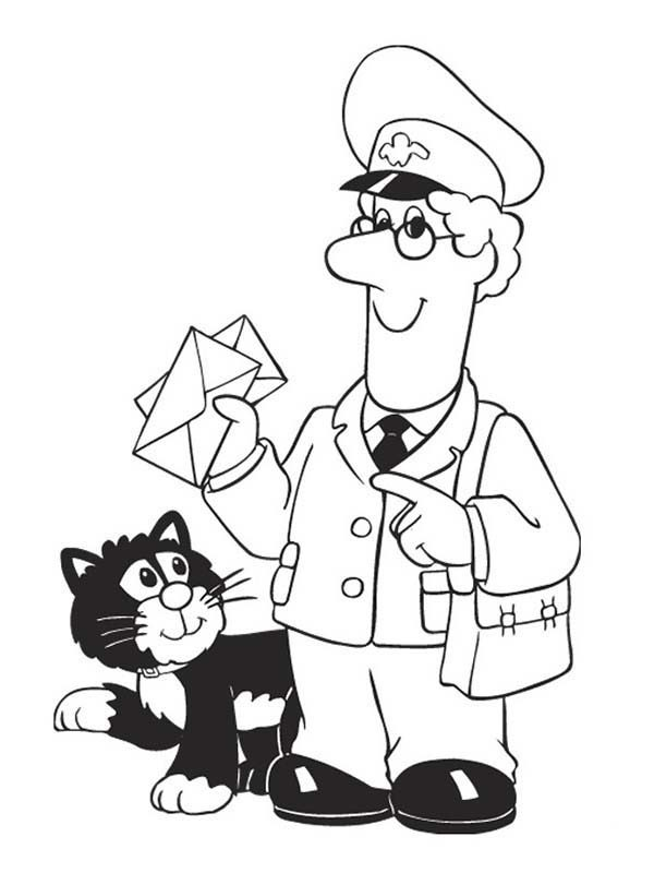 Postman Pat, : Postman Pat Delivering Mail with Jess Coloring Pages