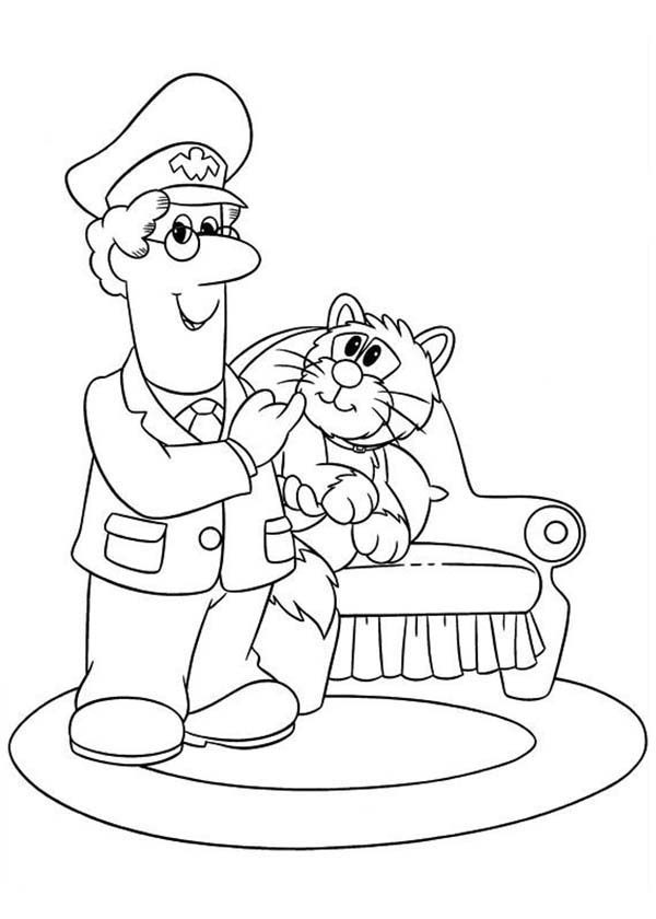 Postman Pat, : Postman Pat Just Arrived at His Home Coloring Pages